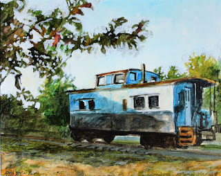 "caboose, train, painting, ""acrylic painting"", ""landscape painting"""