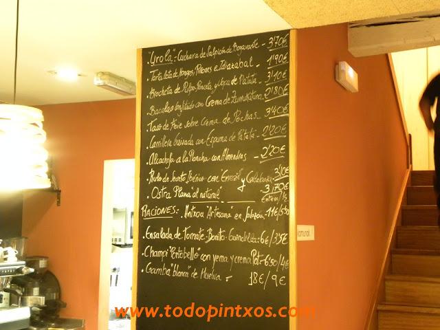 Menu de pinchos y raciones del bar Casa Urola