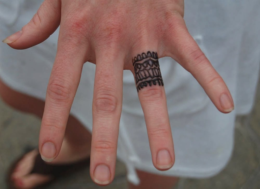 Mens Wedding Ring Tattoos on Left Hand