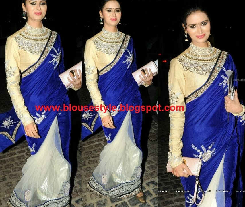 new trend saree with blouse
