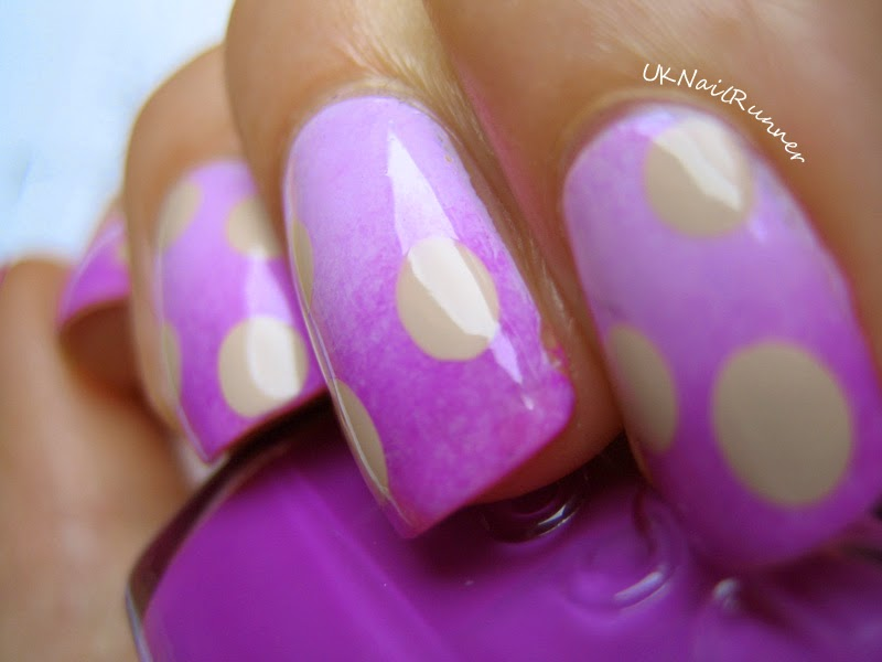 Essie Go Ginza and DJ Play That Song gradient with Barry M Lychee dots