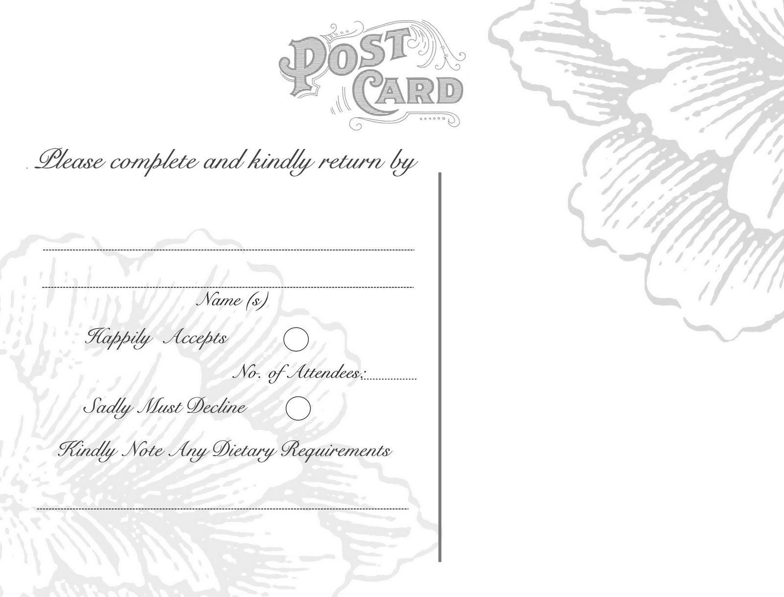 omg my diy wedding free vintage postcard back peony rsvp templates