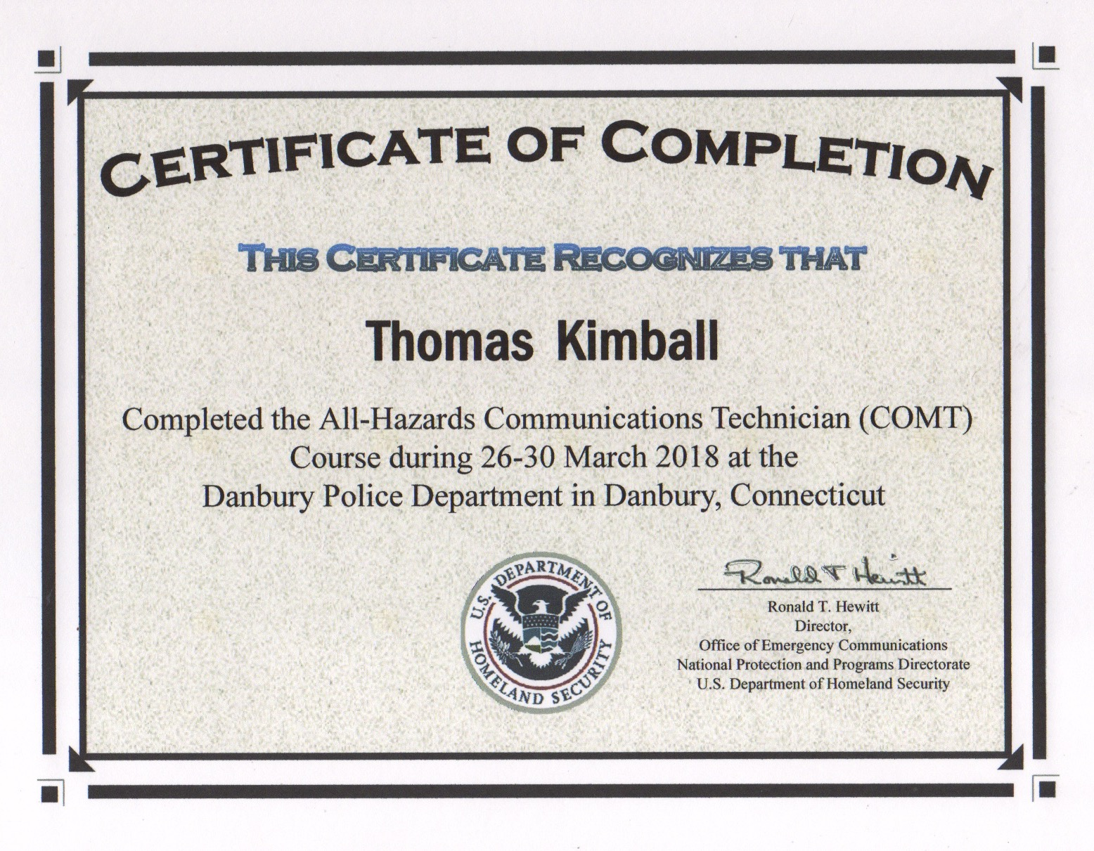 All-Hazards Communications Technician (COMT) Course Certificate