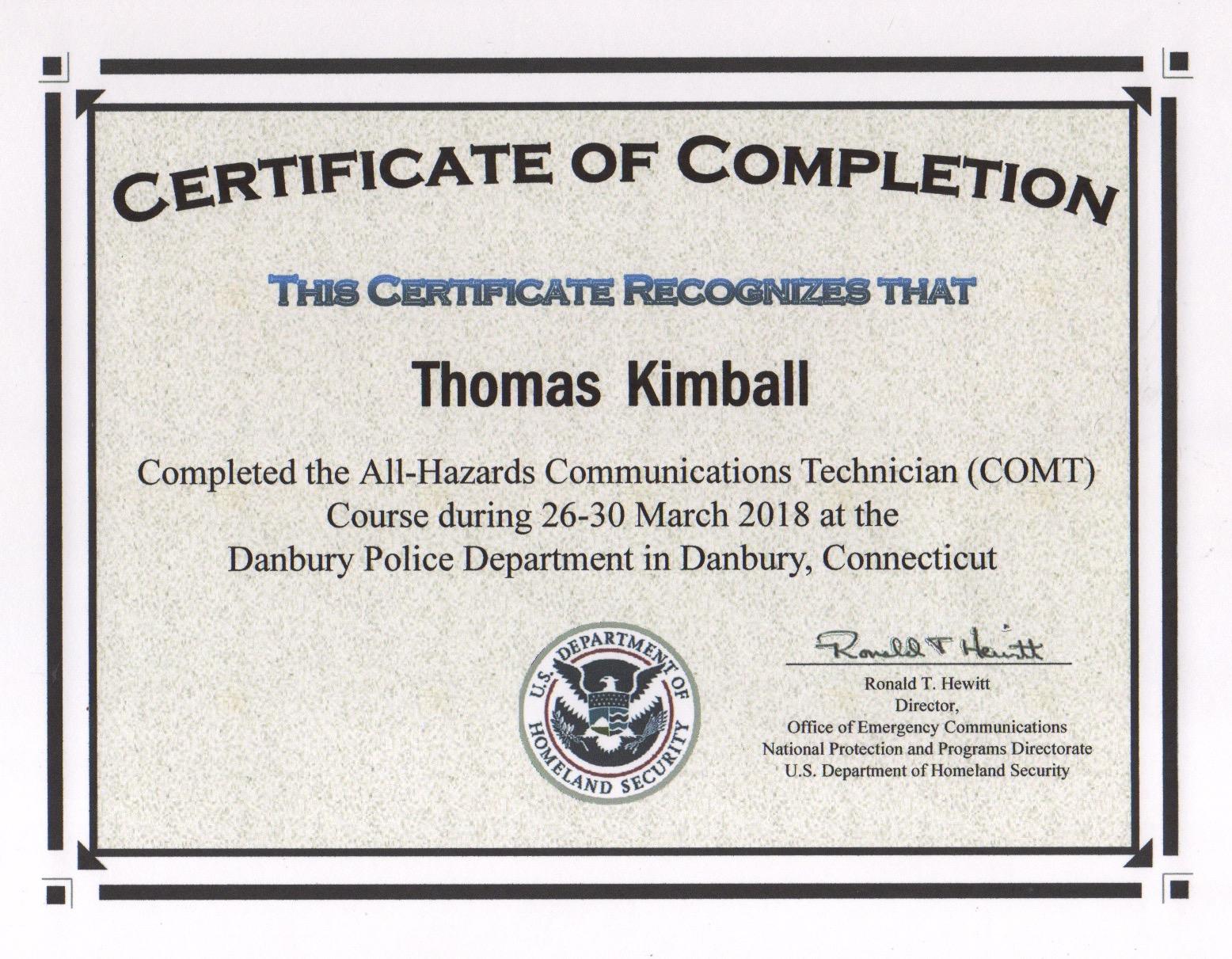 All-Hazards Communications Technician (COMT) Course Certificate