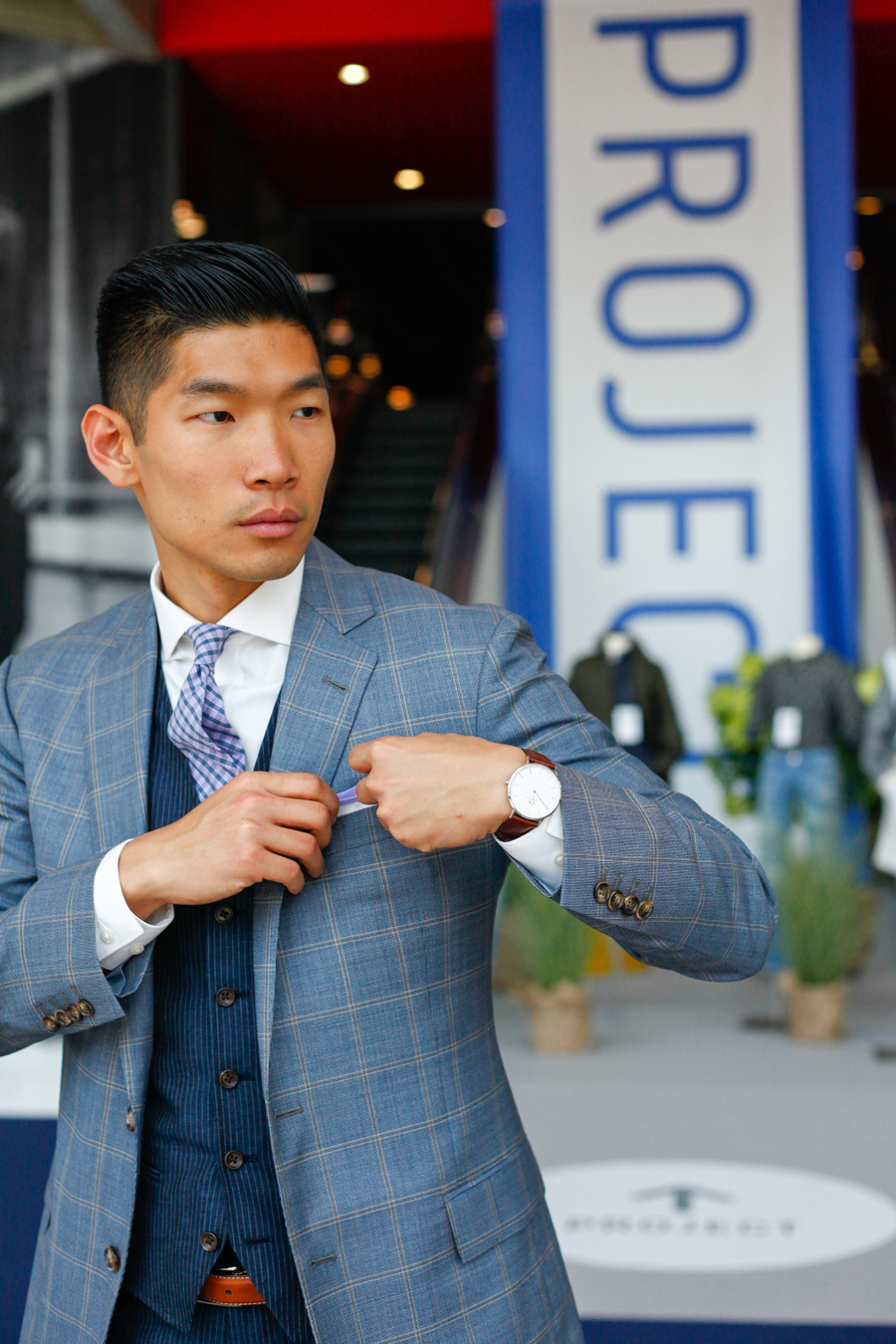 BloggerPROJECT NY Levitate Style | Bonobos Pinstrip Vest and Pants, Brooks Brothers Sport Coat, Johnston & Murphy Cates Buckles Strap, Daniel Wellington, Menswear, Project NY