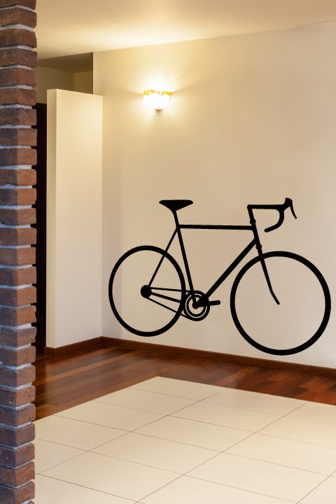 Bike outline as wall decor or a placeholder for a fixie or ten speed