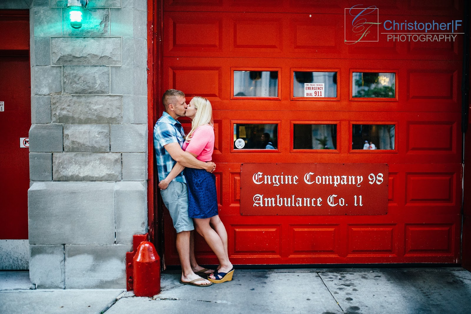 Chicago Fire Station Engagement Photo
