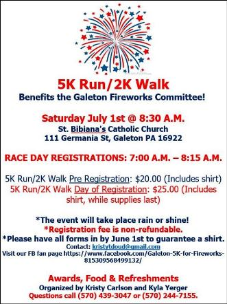 7-1 5K/2K Run/Walk Benefits Galeton Fireworks