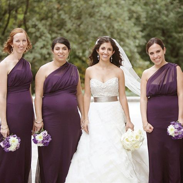 illusion one shoulder maternity bridesmaids dresses