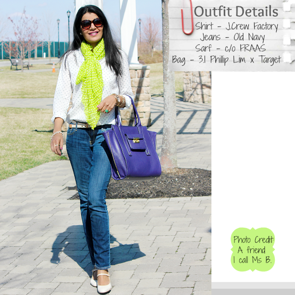 FRAAS scarves, 3.1 Phillip Lim For Target Purple Tote, Jcrew Factory Polka Dot Shirt