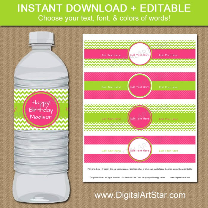 Shop:  Pink and Lime Water Labels