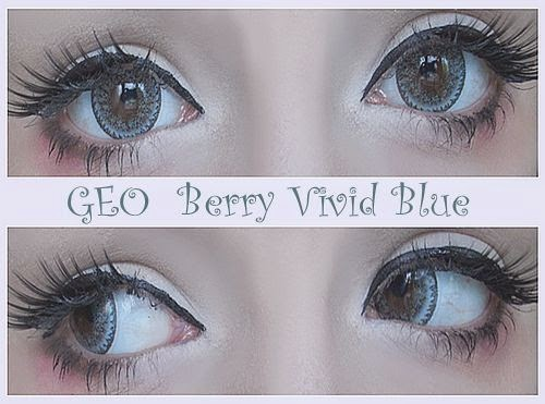Geo Berry Vivid Blue or Geo Nudy Gold Blue Circle Lenses