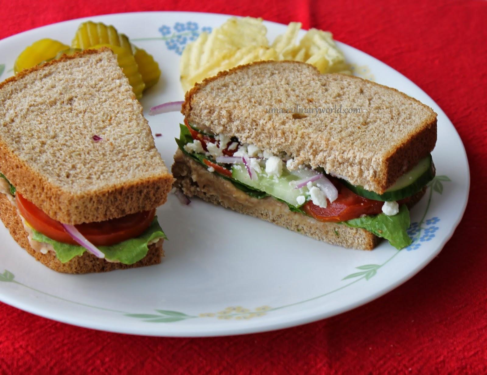 Uma's Culinary World: Pinto Bean Hummus Veggie Sandwich