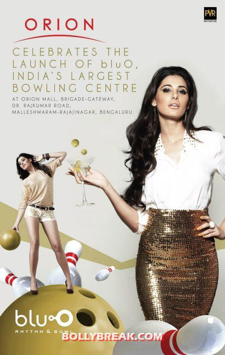 Nargis Fakhri wearing golden skirt white top - Nargis Fakhri Blu O Bengaluru Wallpapers