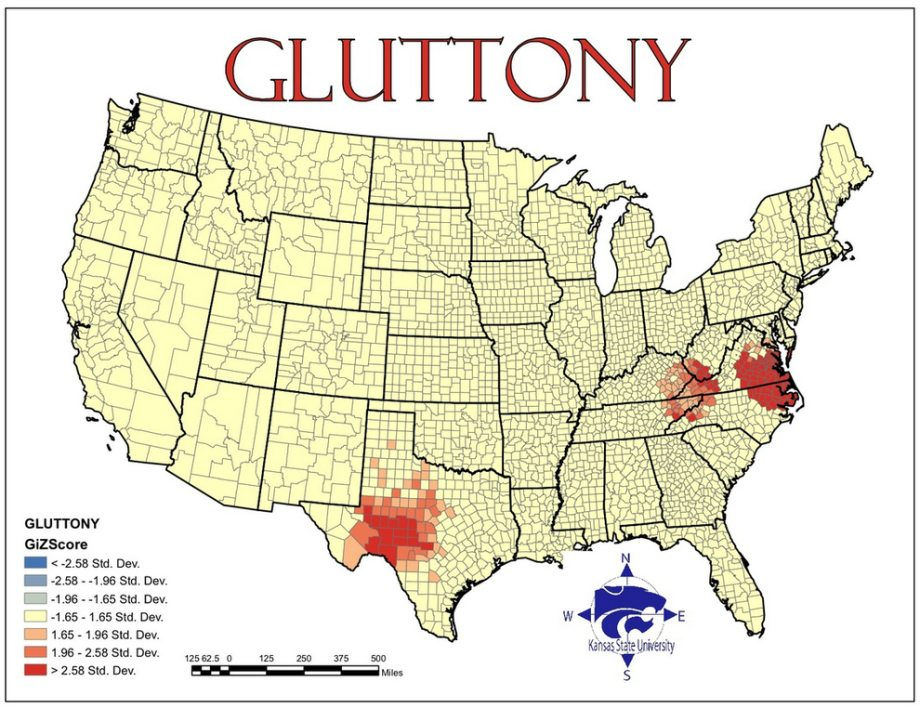 Maps Of Seven Deadly Sins In America