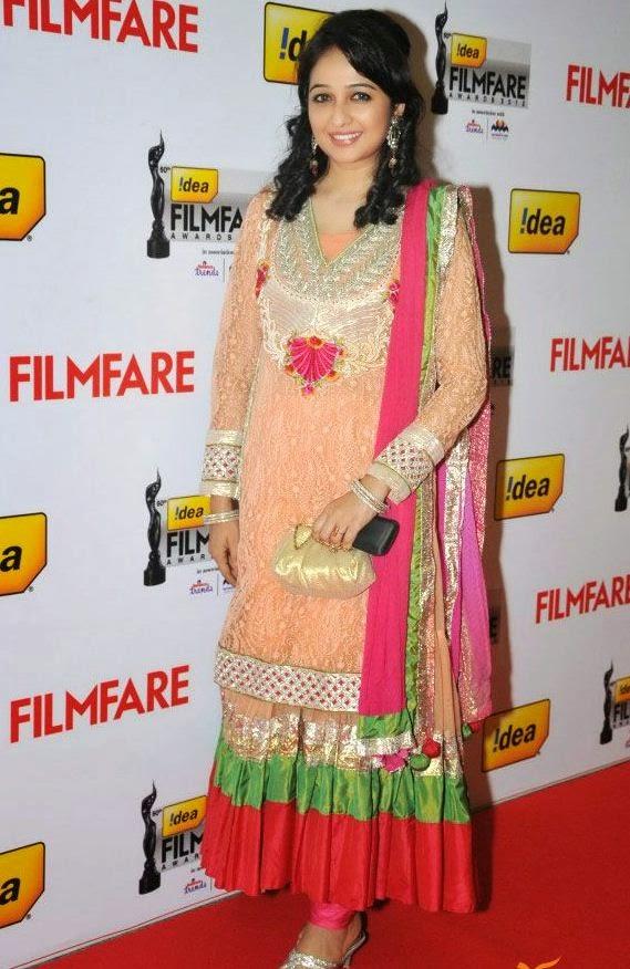 South Indian Actress Aavaana in Designer Orange Net Anarkali Dress