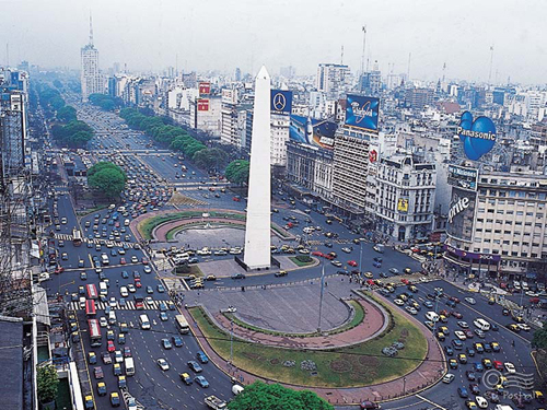 Widest Avenue In The World Buenos Aires High-Res Stock