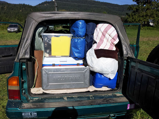 The Suzuki Sidekick packed to the hilt