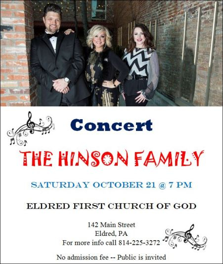 10-21 Hinson Concert at Eldred First Church of God