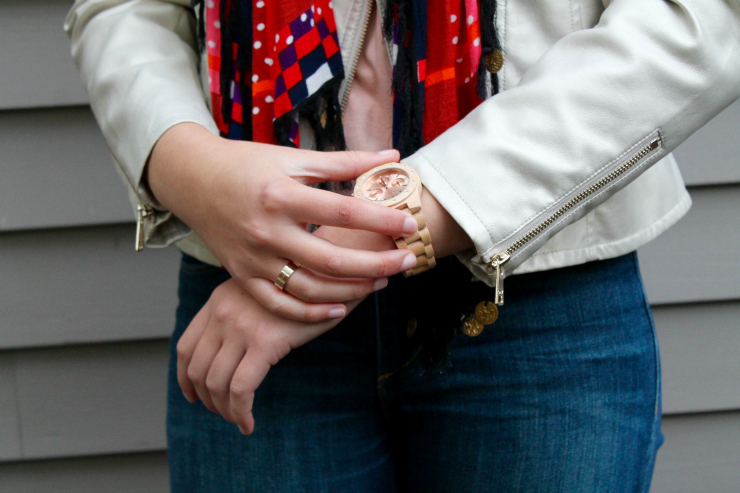 JORD wooden watch, leather jacket for fall outfit
