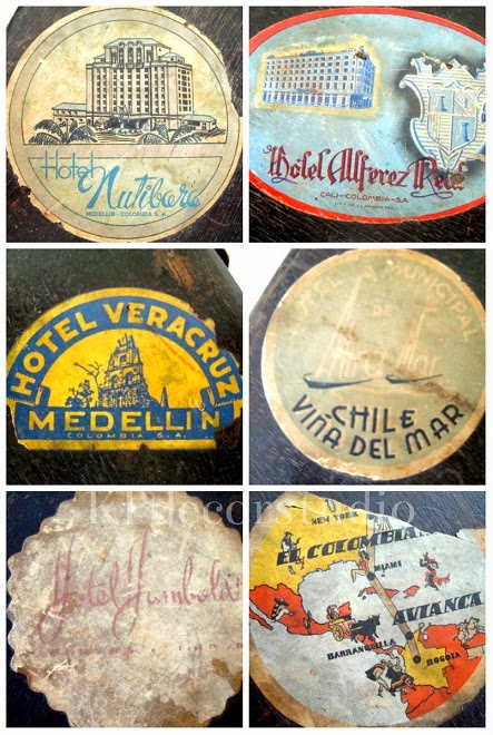 Maletas antiguas con pegatinas auténticas de países y hoteles