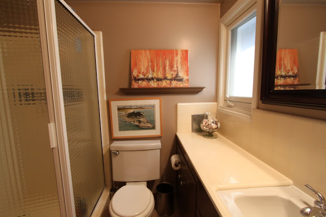 mid-century modern bathroom before picture (guest)