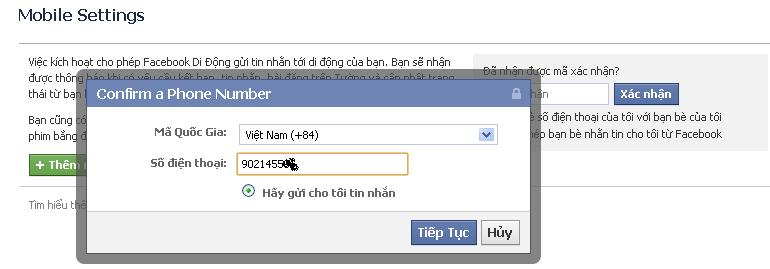 xác minh tài khoản facebook bằng số điện thoại 1