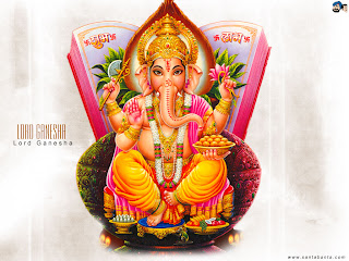 wallpaper of god ganesha with a book