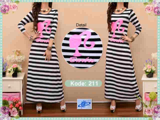 Maxi Barbie Strip - Maxi Salur Hitam Putih