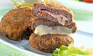 #receita de #hamburguer #recheado com #presunto e #queijo