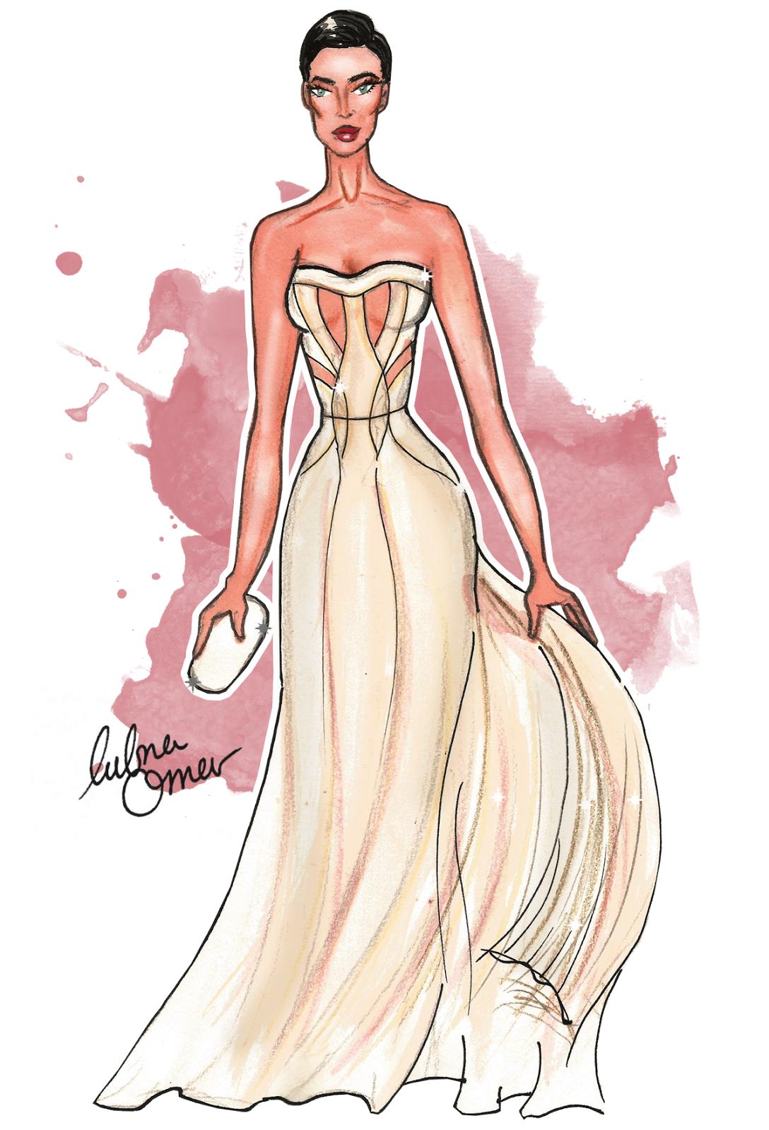 Irina Shayk in Atelier Versace illustration by Lubna Omar