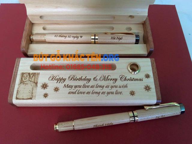 Quà tặng bút gỗ khắc tên Giáng sinh 2016 đẹp, ý nghĩa