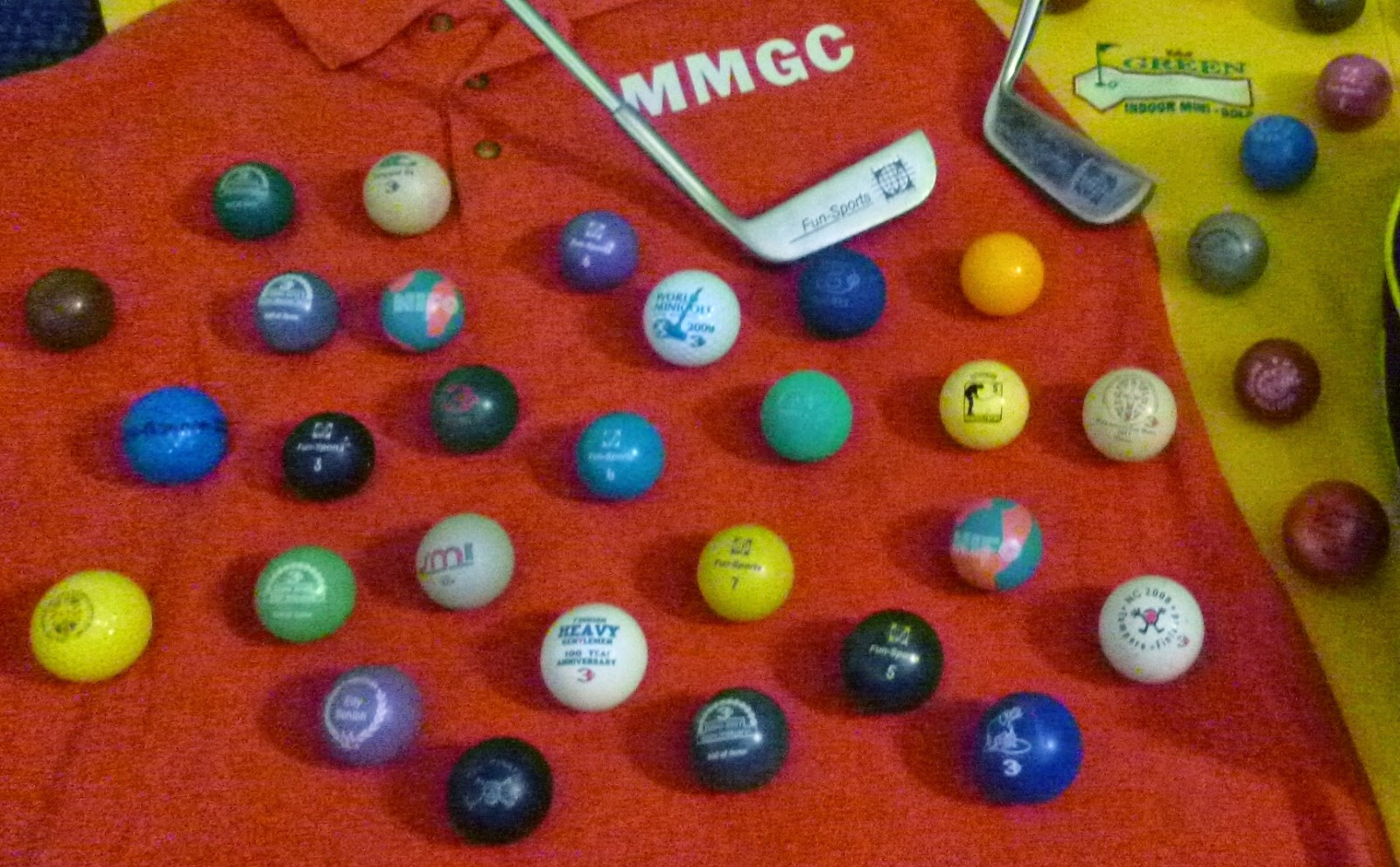 A selection of minigolf sport balls I took to a recent tournament weekend in Hastings