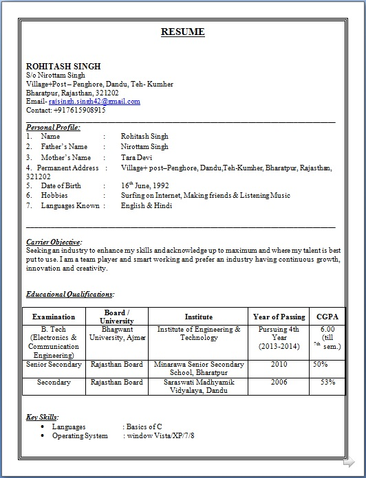 resume sample of b tech electronics communication engineering fresher - Communication Engineer Sample Resume