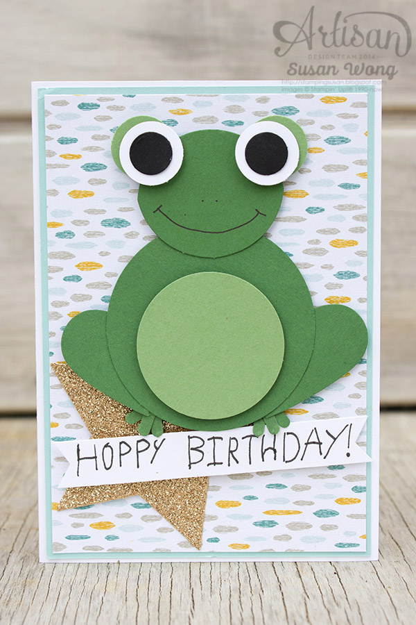 Hoppy Birthday Frog Punch Art Card ~ Susan Wong