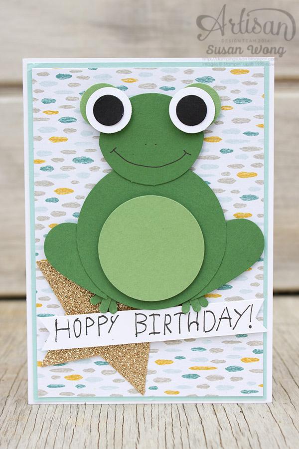 Hoppy Birthday Frog Punch Art Card ~ Susan Wong