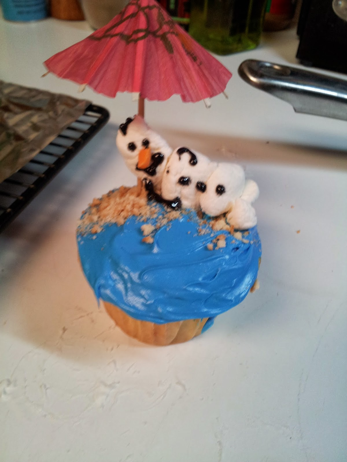 how to make olaf cupcakes