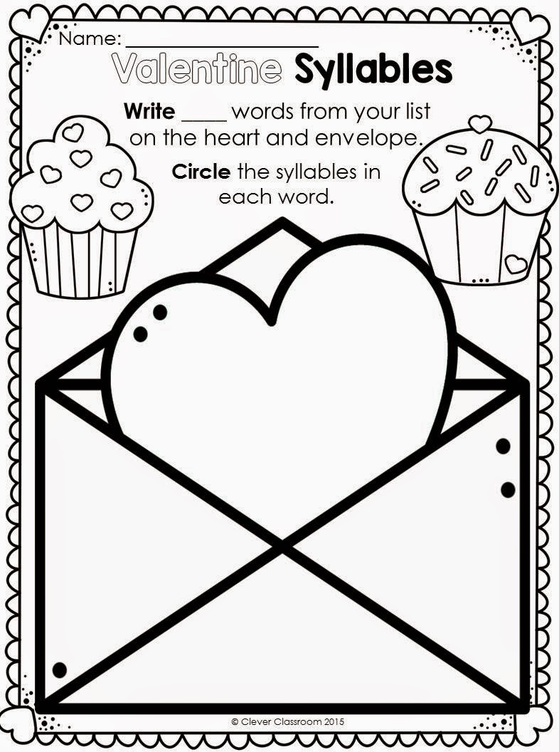 Printables for any Word list series Valentine's Day edition
