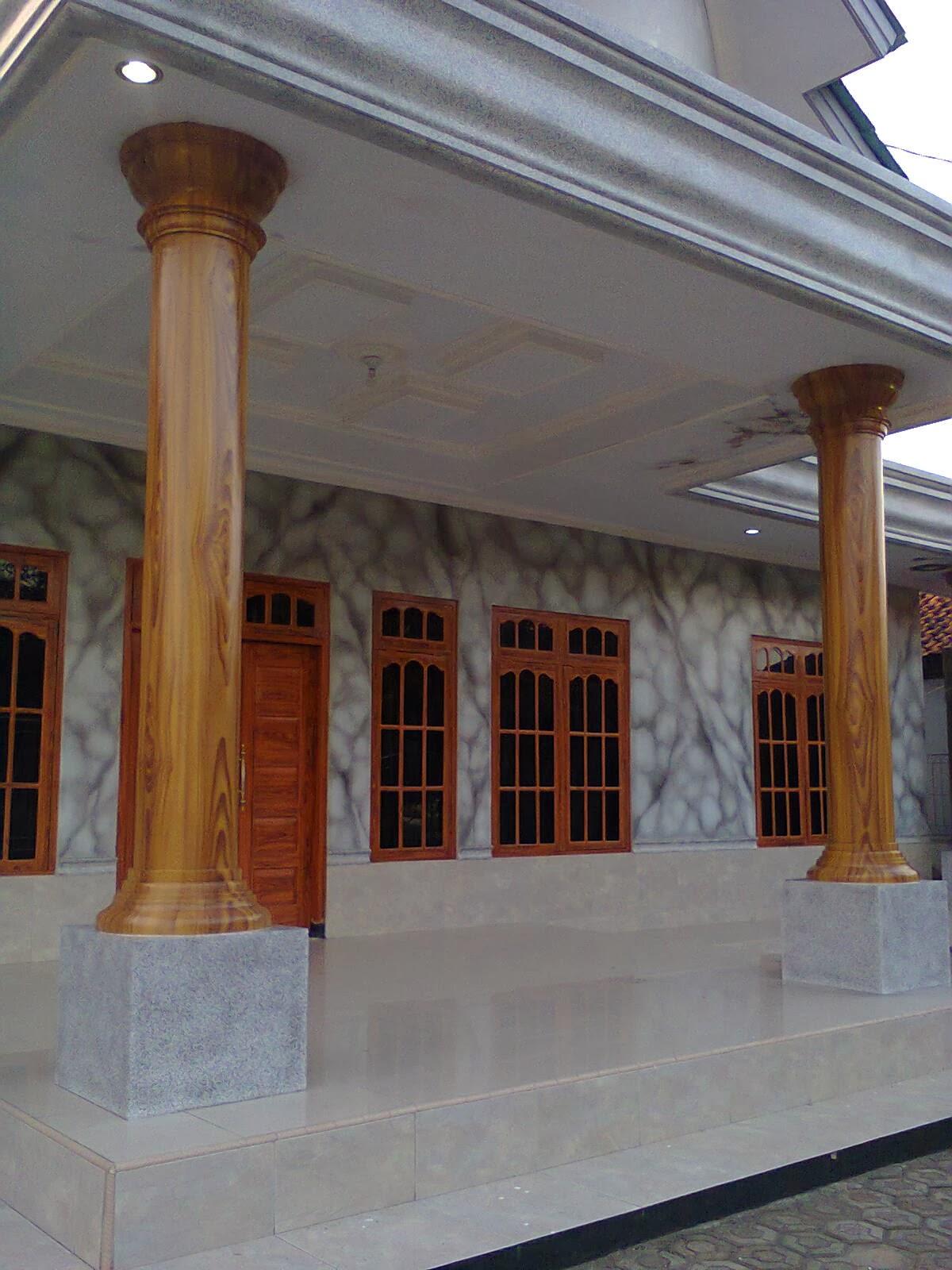 Contoh gambar untuk cat pilar motif kayu dan tembok motif marmer