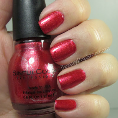 SinfulColors mirror metallics red eye swatch and review