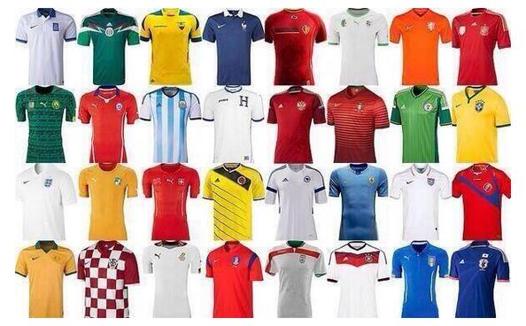 Las 32 camisetas que participarán del Mundial Brasil 2014