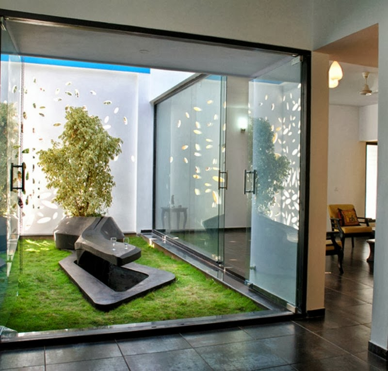 Modern House Design With Beautiful Wall Details In India Indoor Garden
