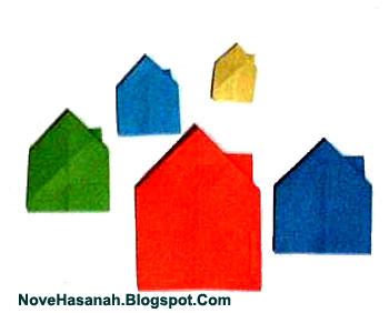cara membuat origami yang mudah untuk anak TK, SD, dan pemula berbentuk rumah