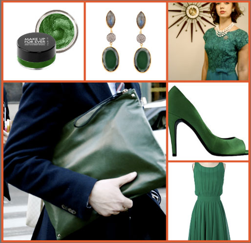 Pantone 2013 color of the year, Emerald Green, style of your own blog, make up forever eye cream, emerald clutch, modcloth emerald dress, emerald green trend. Pantone
