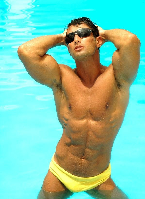 Man's Hairy Armpits in the Pool