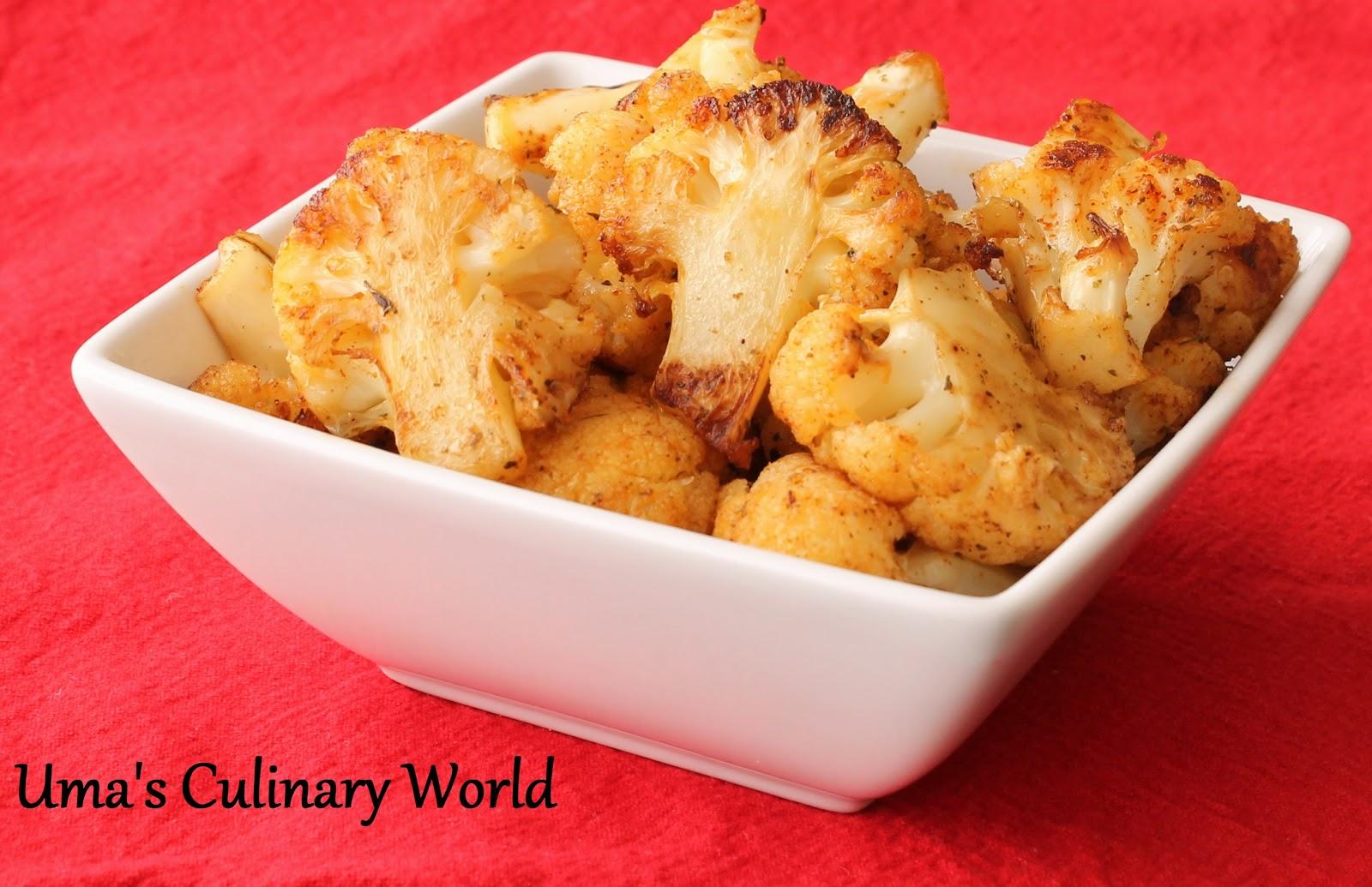 Uma's Culinary World: Oven Roasted Cauliflower with Kasuri Methi