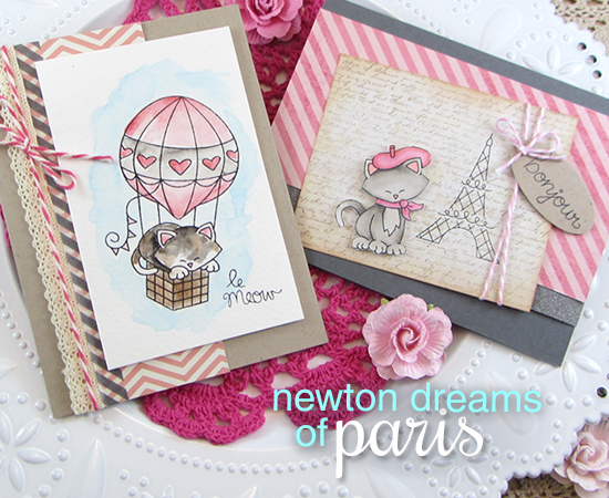 Paris Kitty Valentine Cards by Jennifer Jackson | Newton's Nook Designs | Newton Dreams of Paris Stamp Set