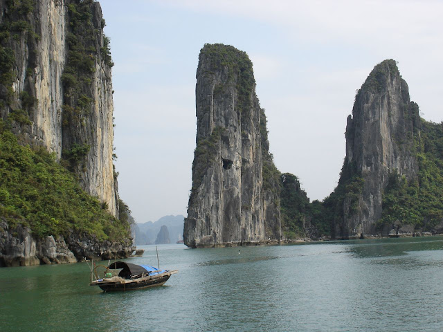 Limestone cliffs in Ha Long Bay