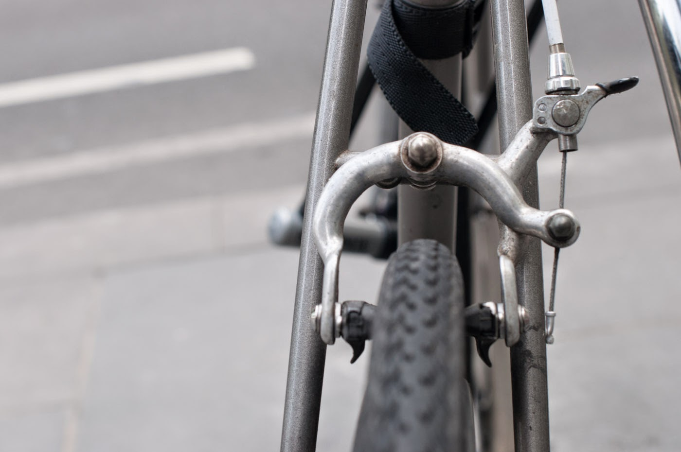 single speed, conversion, road bike, bicycle, Swanston street, Melbourne, Australia, the biketorialist, tim macauley, Macauley, detail, leather, frame, biketorialist, bespoke, custom, customisation, style, bike, bicycle, brake