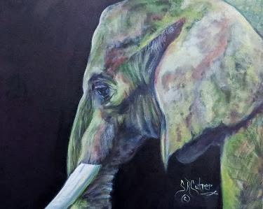 """Bullwagi"" , elephant, portrait, oil painting"